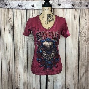 Affliction SINFUL Red Embellished Lace Up T-Shirt